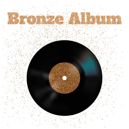 illustration of bronze metal vinyl disk