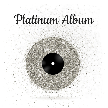 platinum: illustration of metal vinyl disk: platinum Illustration