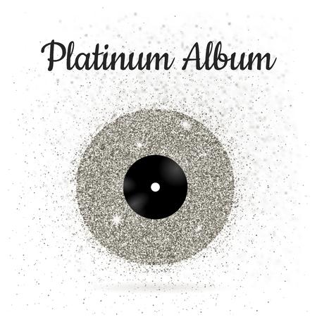 illustration of metal vinyl disk: platinum Иллюстрация