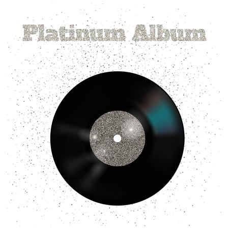 platinum: illustration of metal vinyl disk: platinum Stock Photo