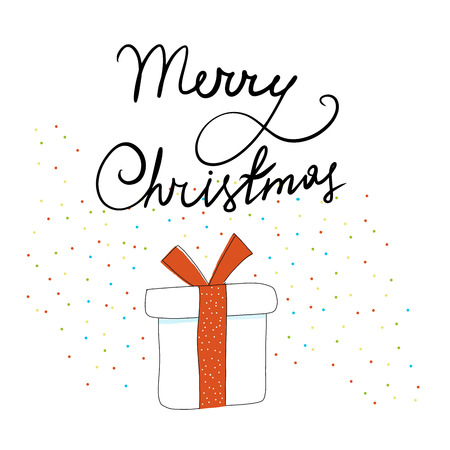 Christmas gift in sketch style on white background