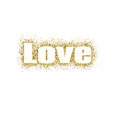 Vector illustration Valentines Day greeting card gold design with typography Иллюстрация