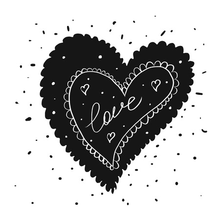 Vector illustration of Valentines greeting card in tattoo ink style with typography Иллюстрация
