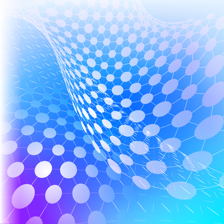 Vector illustration of cyber technology  - perspective grids with circles on blue background Stock Photo