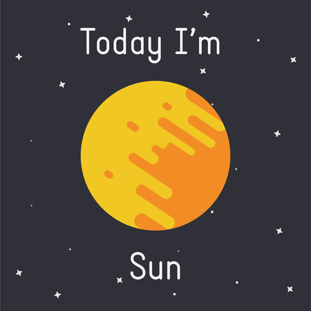Vector Sun illustration with Today Im Sun caption  on dark background