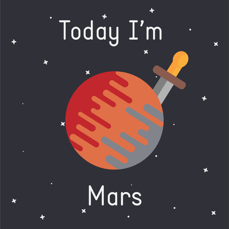 Vector Mars with sword illustration with Today Im Mars  caption on dark background