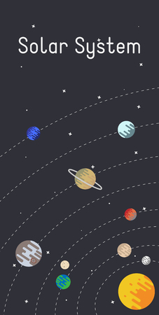 Vector Solar System poster with Sun, Mercury, Venus, Earth, Mars, Jupiter, Saturn, Uranus and Neptune on dark background