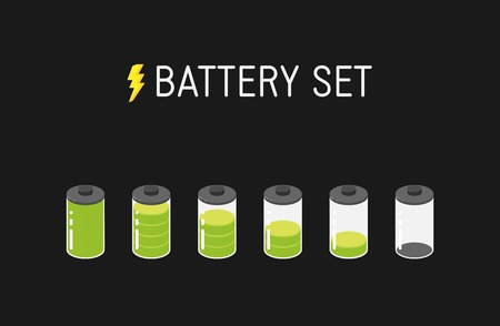Vector battery illustration. Set of six green icons. From full to empty. Иллюстрация