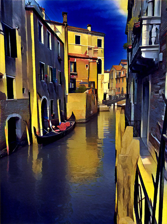 Venice in the moonlight. Art stylised photo.