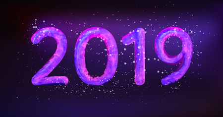 2019 Happy New Year vector illustration. Glowing in the neon light caption 2019 with snow particles.