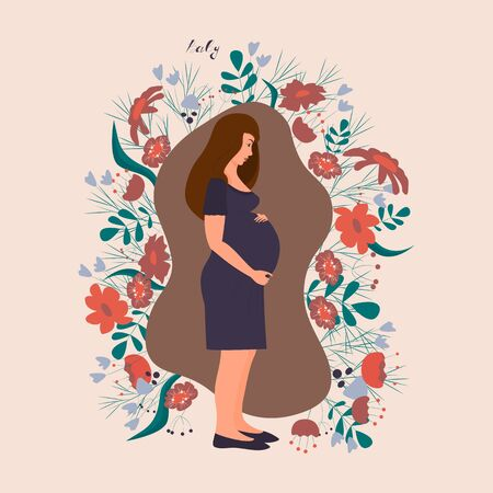 Dark-haired pregnant woman on a background of flowers. Expecting a baby. The girl gently grabs her stomach. Vector. Flat cartoon style.