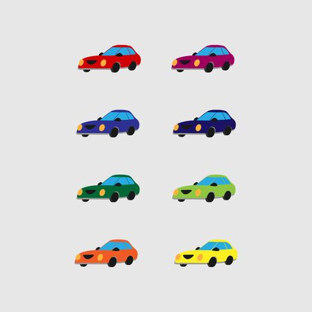 Set of multi-colored cartoon cars. Vector. Flat style. Isolated on white background