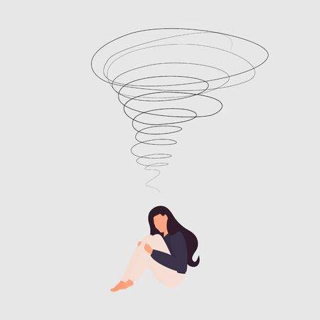 A very cute sad woman is sitting with her knees pressed down. Overhead a whirlwind of emotions and feelings. Experience. Flat cartoon style. Vector. Fatigue from the negative. Depression. Isolated Illustration