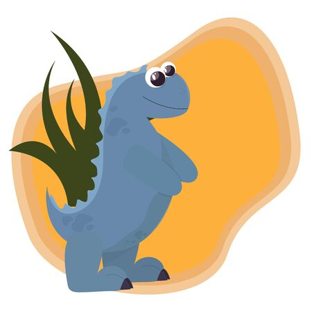 A cute dinosaur of blue color stands on its hind legs. Cartoon style. Vector. Childrens illustration 일러스트