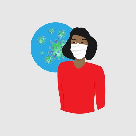 Chinese girl in a medical mask and a bright sweater on the background of a dangerous virus. Coronavirus in China 2019-nKoV . The concept of protection against infection.
