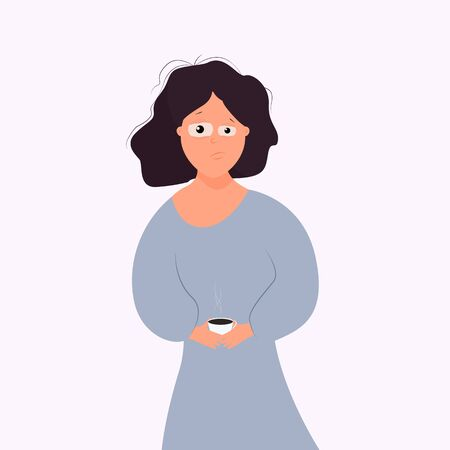Woman with tousled hair in nightwear with a sleepy look holds a cup with a hot drink in her hands. The concept of insomnia, trouble sleeping, severe awakening. Morning coffee. Flat cartoon style