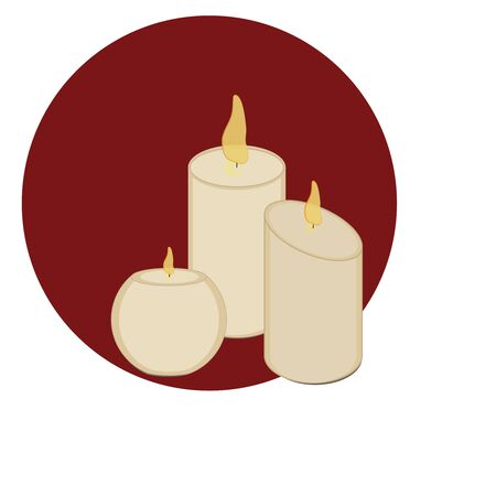 Composition of three candles. Decor element. Vector graphics. Romantic style. Good New Year spirit. Christmas mood.