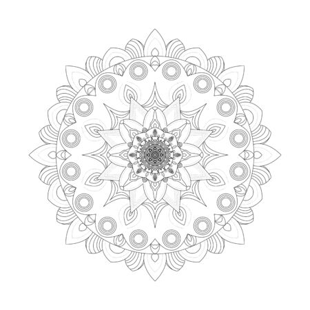 Mandala. Coloring book antistress. Template for mehendi. Oriental drawing. Islam, Arabic, Indian, Moroccan, Spanish, Turkish, Pakistani, Chinese. Vector illustration. Isolated on a white background.  イラスト・ベクター素材