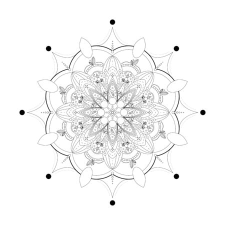 Mandala. Coloring book antistress. Template for mehendi. Oriental drawing. Islam, Arabic, Indian, Moroccan, Spanish, Turkish, Pakistani, Chinese. Vector illustration. Isolated on a white background. 写真素材 - 143421204