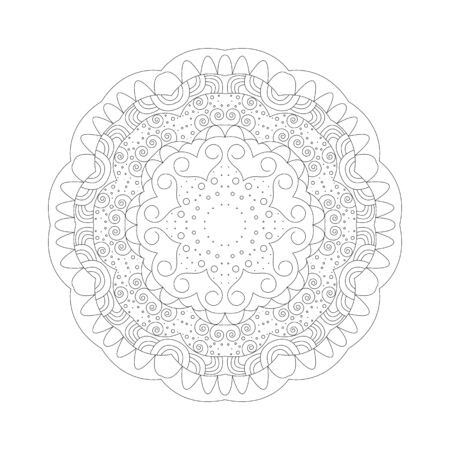 Mandala. Coloring book antistress. Template for mehendi. Oriental drawing. Islam, Arabic, Indian, Moroccan, Spanish, Turkish, Pakistani, Chinese. Vector illustration. Isolated on a white background. 写真素材 - 143421205