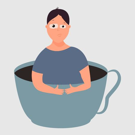 Sleepy man in a cup with a drink. Coffee addiction concept. Early awakening. Vector. Flat cartoon style. Isolated on white background
