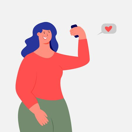 A girl photographs herself on the phone. Selfie Photo for social network. Vector. Flat cartoon style. Isolated on a white background.