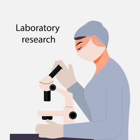 Girl medical worker looking through a microscope. Conducting a medical analysis. The study of the material. Vector. Cartoon style on a white background.