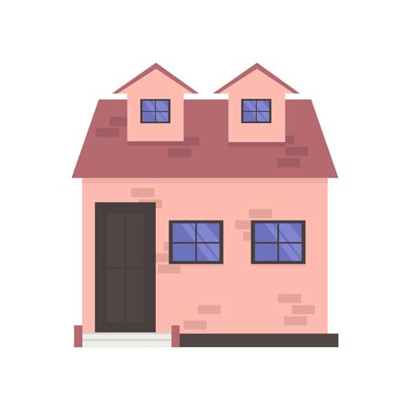 Vector illustration House with pink walls. Isolated on a white background.
