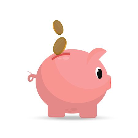 Pig piggy bank in a flat style. Coins are lowered into the piggy bank. Savings Concept vector icon. Illustration for banks. Isolated on a white background.