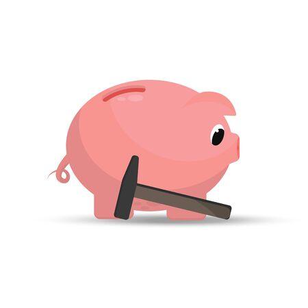 Sad piggy bank next to the hammer. Bankruptcy concept, finance loss. Vector illustration isolated on white background.