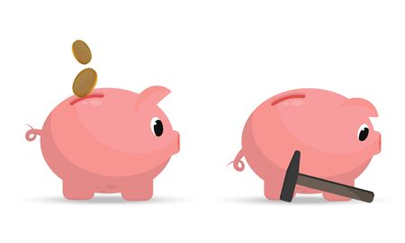 A set of pig piggy banks with coins falling into it, and a sad piggy bank next to a hammer. The concept of savings and loss of savings. Vector illustration on a white background.