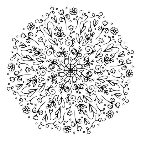 Mandala. Antistress coloring book. Template for mehendi. Oriental drawing. Vector illustration. Isolated on a white background. Vettoriali