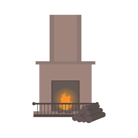 Fireplace with fire in flat style. Vector. Interior items. Isolated on white Illustration