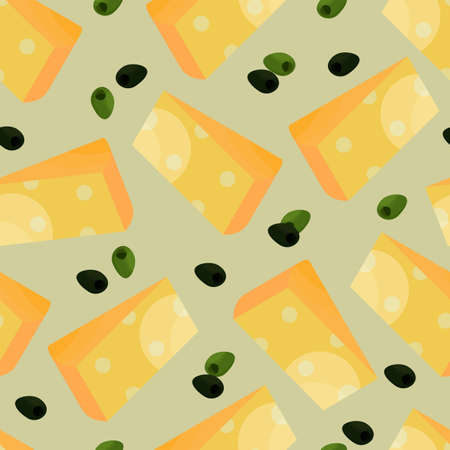 Seamless pattern. Cheese and olives of different maturity. Decor element for kitchen items Иллюстрация
