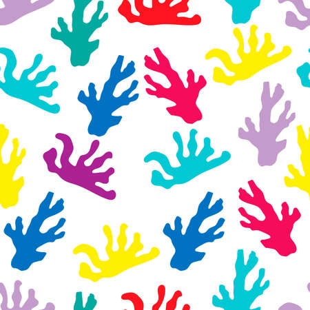 Seamless pattern, bright colors. marine theme. Cartoon style. Corals vector. Decor element Çizim