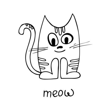 The cat is drawn in a cartoon style. Isolated on a white background. Vector. Freehand drawing. Element of children's decor