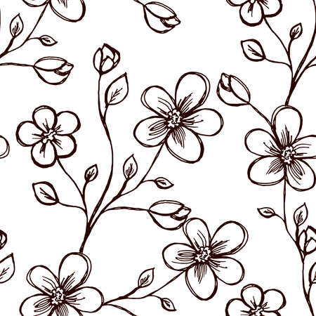Seamless pattern. Sprig with flowers. Two flowers and a bud. On white background. Brown outline. Decor element. Vector Ilustração