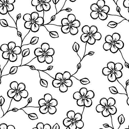 Seamless pattern. Sprig with flowers. Flowers and a bud. On white background. Decor element. Vector