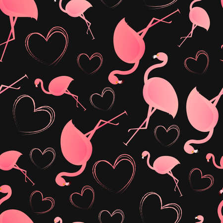 Seamless pattern. Pink hearts and flamingos on a black background. Vector. Cute illustration for wallpaper, wrapping paper, gift card background