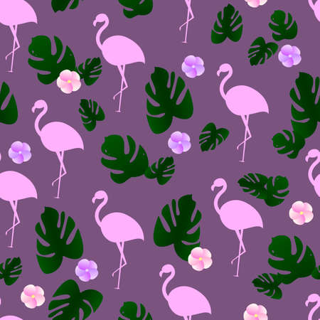 Seamless pattern with tropical leaves, flamingo silhouette and tropical flowers. On a purple background. Suitable for fabric, covers, wrapping paper.