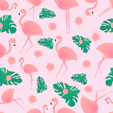 Seamless pattern with tropical leaves, flamingos and tropical flowers. On a pink background. Suitable for fabric, covers, wrapping paper.