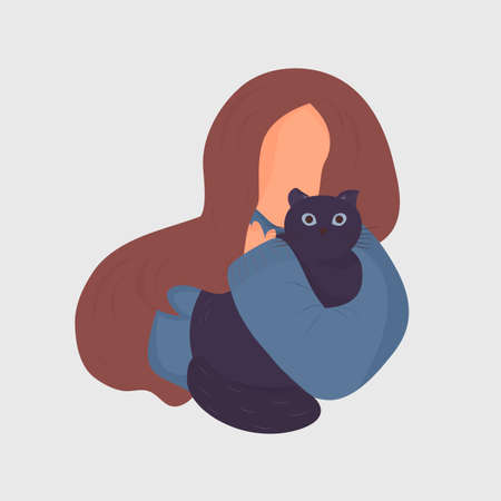 Cute young girl in a blue sweater with dark hair gently hugs a fat black cat. Vector. The concept of love for animals. Flat cartoon style. Isolated on white background.