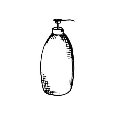 Bottle for liquid soap or lotion. Sketch. Vector. Isolated on a white background. Decor element