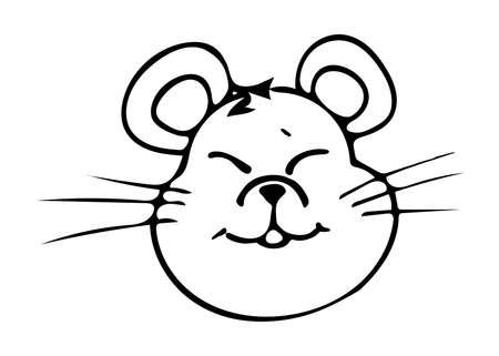 Mouse. Drawn by hand. Doodles. Black and white. Element of festive decor. Winter paraphernalia. New Year. Suitable for decorating holiday cards, stickers