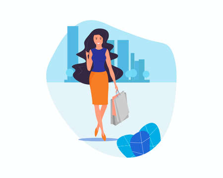 Girl on the background of the city. Full-length image. Woman with purchases and thumb up meaning class. Positive attitude. Illustration of shopping, discounts, women s hobbies and having fun