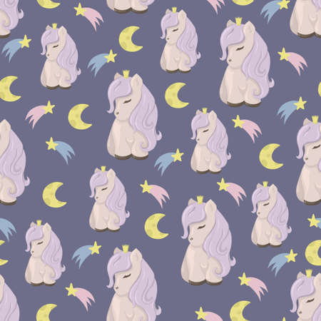 Seamless pattern with cute ponies, moon and stars. Decorative wallpaper for the nursery in the Scandinavian style. Vector.