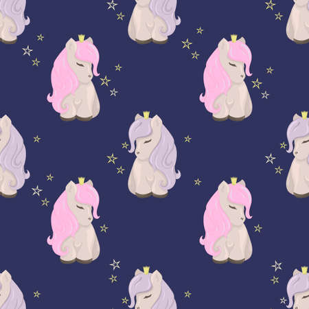 Seamless pattern with cute ponies among the stars. Decorative wallpaper for the nursery in the Scandinavian style. Vector. Suitable for children's clothing, interior design, packaging, printing
