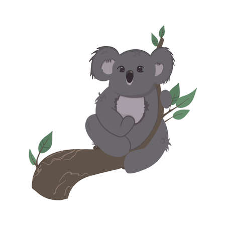 Vector children's colorful illustration of a koala on a branch in a cartoon hand drawn style for printing on children's clothing, interior design, packaging, stickers. Isolated on white.