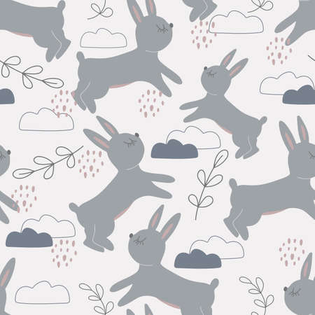 Seamless pattern with cute rabbits among the clouds. Decorative wallpaper for the nursery in the Scandinavian style. Vector. Suitable for children's clothing, interior design, packaging, printing
