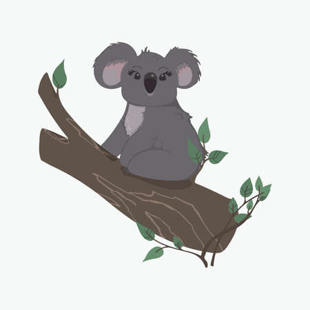 Vector children's colorful illustration of a koala on a branch in a cartoon hand drawn style for printing on children's clothing, interior design, packaging, stickers. Isolated on white Illusztráció